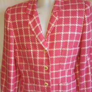 New Saks Fifth Avenue  Pink White Pane Blazer